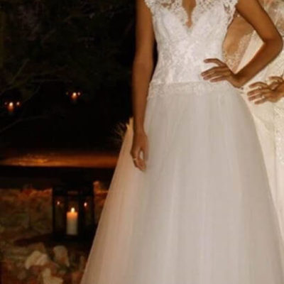 Eavis and Brown Lace Tulle Wedding Dress